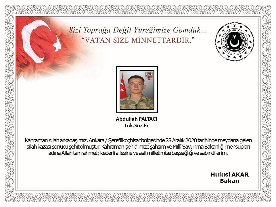Ankara'da silah kazası sonucu 1 asker şehit oldu!