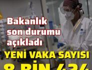 Koronavirüs salgınında yeni vaka sayısı 8 bin 424