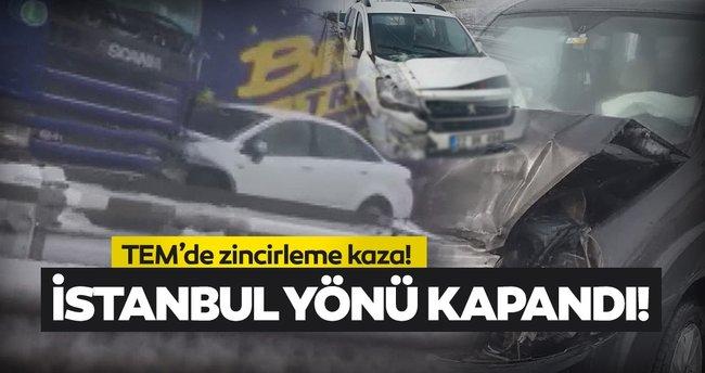 TIR kazası! İstanbul yönü trafiğe kapandı!