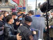 Sağlık çalışanlarının eylemine polis müdahalesi