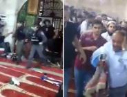 İsrail polisinin Mescid-i Aksa'ya yaptığı alçak saldırı kamerada